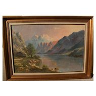 Hudson River style landscape art oil painting signed DAVID DUNDAS