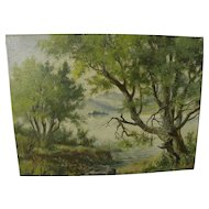 Impressionist landscape with trees painting signed Ballon
