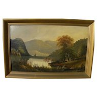 American Hudson River School 19th century luminous landscape painting
