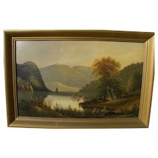 American Hudson River School 19th century luminous landscape painting