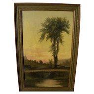 Hudson River style 1901 luminous American oil landscape painting signed ELLA PARKER