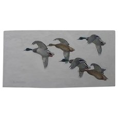 Impressive sporting art painting of ducks in flight signed de Marcillac