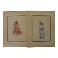 Latin American art PAIR signed watercolor paintings of young woman dancing and handsome man in traditional garb