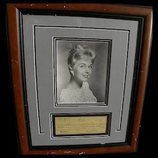 Actress and singer DORIS DAY autograph 1950 nicely framed signed canceled check to publicity promoter