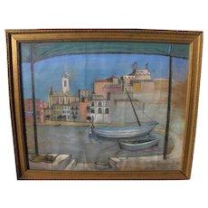 BETTINA SHAW-LAWRENCE (1921-) modern British art Magic Realism 1964 pastel drawing by a noted artist
