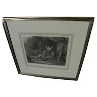"After WILLIAM COLLINS (1788-1847) fine framed engraving ""The Woodland Gate"""