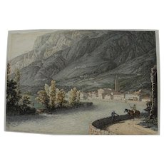 Fine early to mid 19th century watercolor and ink drawing of Carinthia (southern Austria)