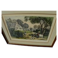 "Currier & Ives American 19th century original lithograph print ""Summer in the Country"""