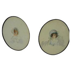 Late nineteenth century oval watercolor paintings of young women in bonnets framed creatively together