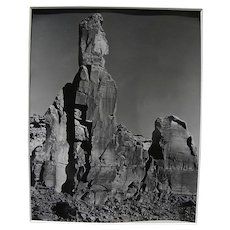 JOSEF MUENCH (1904-1998) black and white photograph of Arizona rock landscape by the noted Southwestern nature photographer
