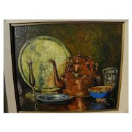 English 1930 impressionist still life oil painting with exhibition label