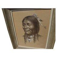 BILL HAMPTON (1925-1977) original pencil and white highlights drawing of Native American Indian