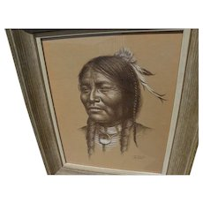 BILL HAMPTON (1925-1977) original pencil and white highlights drawing of Native American Indian