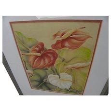 Hawaiiana air brush style art of anthuriums by noted Hawaii artist Hale Pua (Frank Oda)