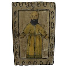 "Mexican folk art vintage gessoed wood retablo ""San Lucas"""