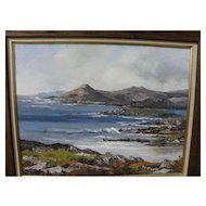 Impressionist coastal seascape painting likely British Isles signed Peg McCarty