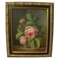 Contemporary still life floral oil painting after highly detailed style of earlier centuries