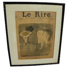 JEAN-LOUIS FORAIN (1852-1931) original cover lithography for Le Rire weekly satirical publication 1895