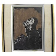 JAKOB STEINHARDT (1887-1968) small edition color woodcut print by noted Jewish artist