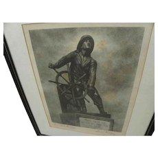LEONARD CRASKE (1882-1950) marine art pencil signed photogravure print of iconic Gloucester fisherman statue by its creator