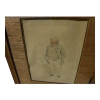 """JOSEPH CLAYTON CLARKE (""""Kyd"""") 1857-1937 original watercolor and ink drawing of Dickens character from David Copperfield"""