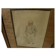 "JOSEPH CLAYTON CLARKE (""Kyd"") 1857-1937 original watercolor and ink drawing of Dickens character from David Copperfield"