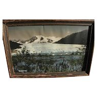 Alaskana 1933 colorized photo of Mendenhall Glacier near Juneau