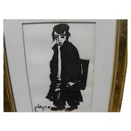 MOSHE BERNSTEIN (1920-2006) ink drawing of Jewish boy by listed Israeli artist