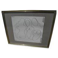AKOP TASHCHYAN (1949-) semi abstract line drawing of nude women by Armenian-American listed artist