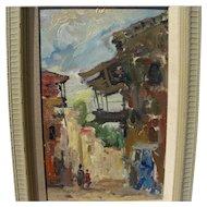 Jewish art circa 1970's impressionist painting signed Moshe M.
