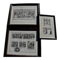 Three framed antique 17th century engravings by Italian artist PIETRO SANTI BARTOLI (1635-1700)