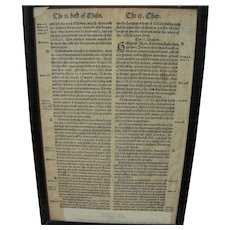 Rare original leaf from the Coverdale Bible--first printed in the English language circa 1549