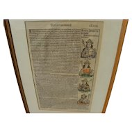 Nuremberg Chronicles original illustrated 1493 woodcut leaf from landmark early printed book