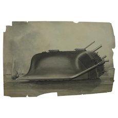 F ROLLIN SMITH (late 19th century American) fine en grisaille drawing of shipwreck on a coast