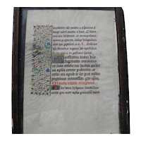 Book of hours double-sided leaf 1400's illustrated with ornate capital letters and floral border with gold paint