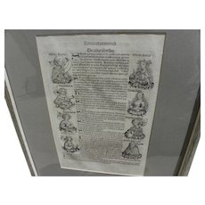 Nuremberg Chronicles original 1493 double-sided leaf including woodcut illustrations from landmark early printed book‏