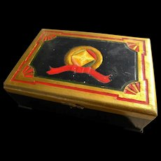 Old cigar box customized to jewelry box with hand crafted Art Deco style lid