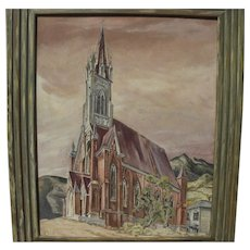 WILLIAM ROSS SHATTUCK (1895-1962) painting of St. Mary in the Mountains Catholic Church Virginia City Nevada