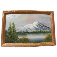 Small vintage landscape painting cabin art