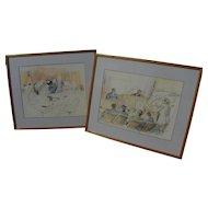 DAVID ROSE (1910-2006) **pair** original drawings of John DeLorean and Wayne Williams trials by famed courtroom artist