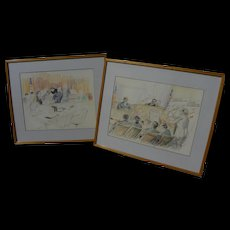 DAVID ROSE (1910-2006) **pair** original drawings of John DeLorean and Wayne Williams trials by famed courtroom artist