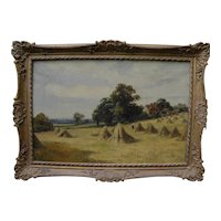 English circa 1890 landscape painting haystacks in country landscape signed G CLAYTON