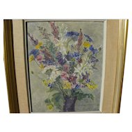 Swedish 1952 oil floral still life painting signed R Hector Olsson
