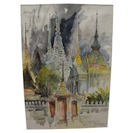CHALERM NAKIRAKS (1917-2002) watercolor painting of Bangkok temples by important Thai National Artist