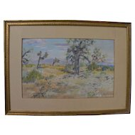 California plein air art impressionist 1940 pastel drawing of joshua trees in a high desert landscape