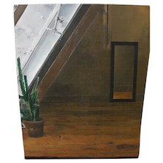 Contemporary American realist painting of potted cactus in attic room