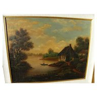 English or European 19th century primitive landscape painting of cottage, lake and figure in small rowboat
