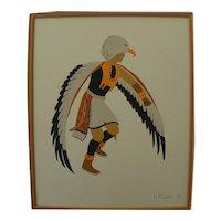 Southwest Native American Indian art original signed 1979 drawing of eagle dance