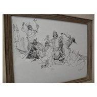 DAVE POWELL (1954-) ink drawing Alaska Indians Western Americana Alaskana listed art