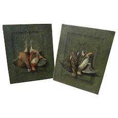 HENRY H. CROSS (1837-1918) American sporting art **pair** of still life trompe l'oeil paintings of hanging game birds